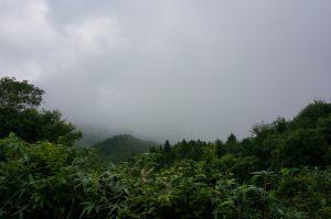 登山道入り口からの眺めは天気が悪いとこうだが…。